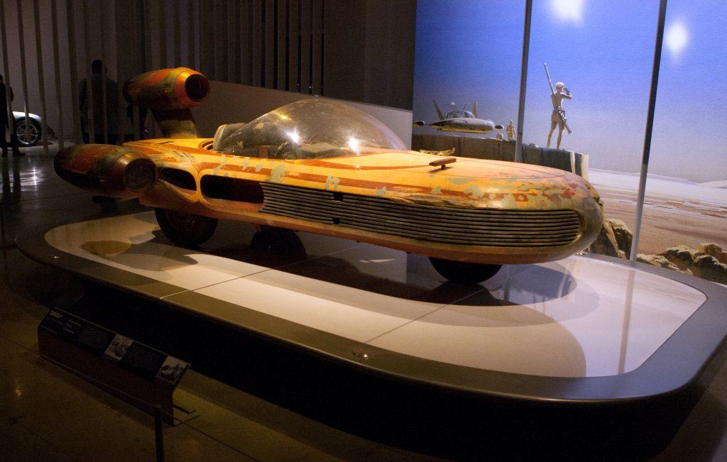 Luke Skywalker's Landspeeder from the first Star Wars film on display at the Petersen museum