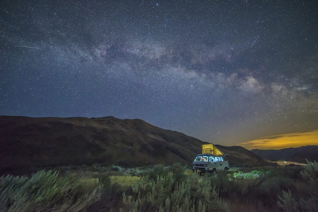 Overland Camping shelter options: VW Westfalia camped overlooking the Snake River above Spring Recreation Site near Huntington, Oregon.