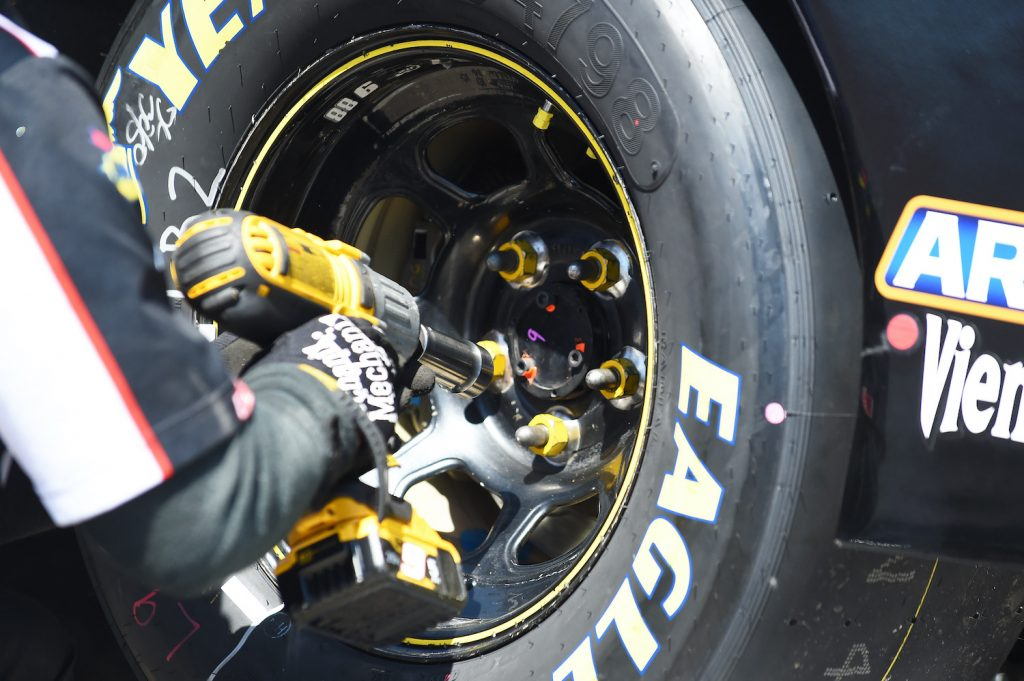 BROOKLYN, MICHIGAN - JUNE 07: Detail of tires being put on during practice for the NASCAR Xfinity Series LTi Printing 250 at Michigan International Speedway on June 07, 2019 in Brooklyn, Michigan. (Photo by Logan Riely/Getty Images) Have a look at our tire speed rating chart.