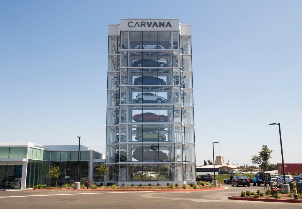A Carvana vending tower in Huntington Beach, CA