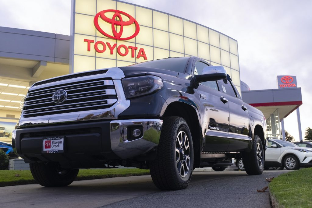 A Toyota Tundra pickup with one of the best V8 truck engines, the i-force 5.7. At a car dealership in San Jose, California, United States on Tuesday, November 19, 2019. T (Photo by Yichuan Cao/NurPhoto)