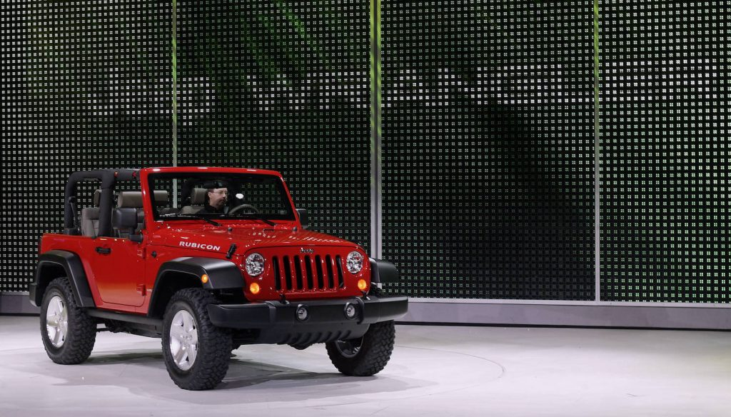 A red 2006 Jeep Wrangler Rubicon on display at the Norther American International Auto Show in Detroit. The 2006 Jeep Wrangler Rubicon has one of the highest used Jeep Wrangler prices.