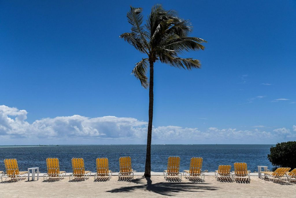 TOPSHOT - Empty lounge chairs are seen on a deserted beach at a resort in Windley Key, on March 22, 2020, during the coronavirus (COVID-19) outbreak. - The Florida Keys have closed down to visitors. Heavily relying on tourism, at the peak of high season, Florida's most southern holiday islands have been forced to shut down hotels amid the COVID-19 pandemic. (Photo by CHANDAN KHANNA / AFP) (Photo by CHANDAN KHANNA/AFP via Getty Images) Hailing from Palm Beach, a 2020 Ford Shelby GT500 Mustang beats Tesla Model S plaid in a drag race.