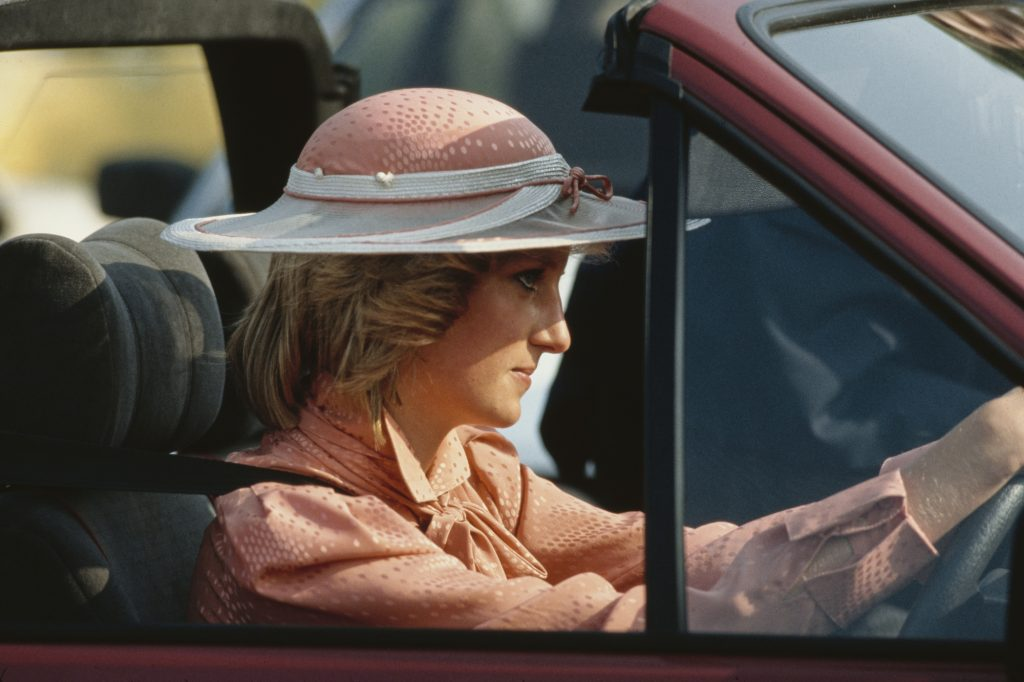 Princess of Wales  driving her new Ford Escort