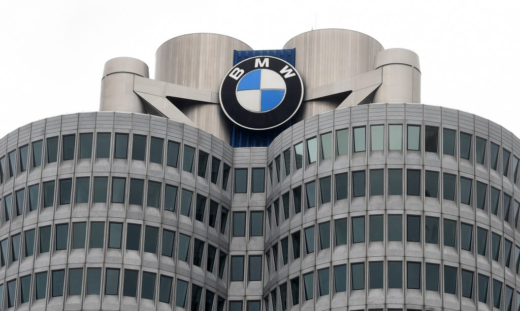 A close-up of BMW's corporate HQ building