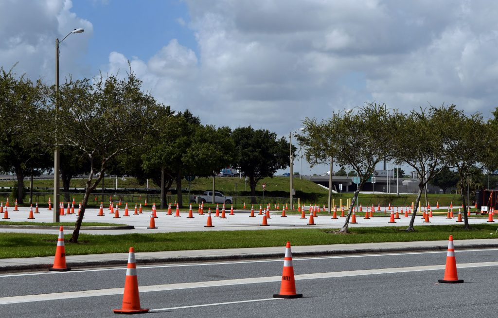 A sea of cones in a parking lot