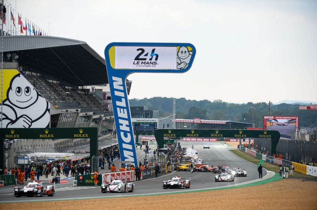 Drivers leave the pit lane for the warm up lap prior to the start of the 88th edition of the Le Mans 24 Hours race on September 19, 2020 at the La Sarthe circuit in Le Mans, in front of empty stands with Covid-19 keeping away the motorsport classic's normal crowd of 250,000 diehard fans. (Photo by JEAN-FRANCOIS MONIER / AFP) (Photo by JEAN-FRANCOIS MONIER/AFP via Getty Images), Will the Bugatti Bolide race at Le Mans?
