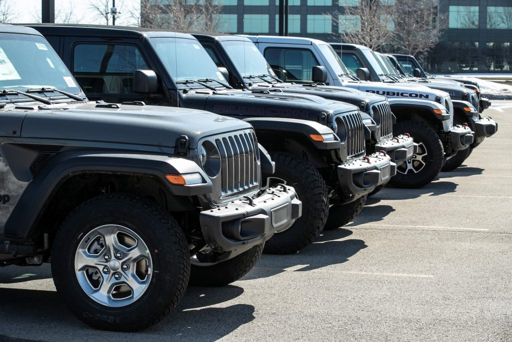 Jeep Wrangler JLs at an Illinois Car Dealership. JLs are among the most expensive used Jeep Wrangler prices.