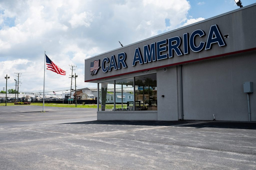 An empty dealership lot in Laurel, Maryland USA