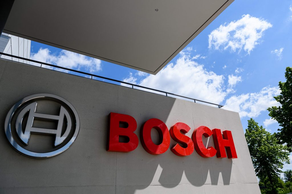 Bosch's logo outside their factory in Germany; their inability to produce chips fast enough is a reason for the new car chip shortage