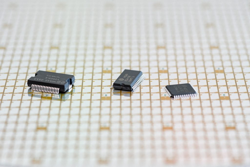 Semiconductors and microchips on a table in Dresden