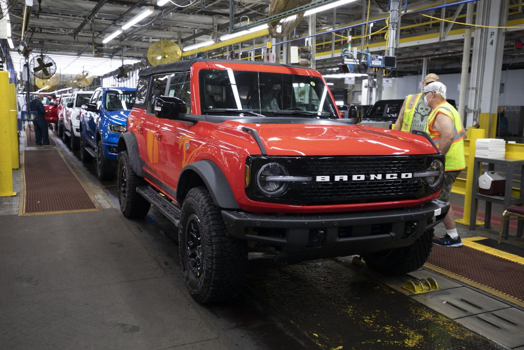 A red Bronco on the production line at Ford's plant in Michigan
