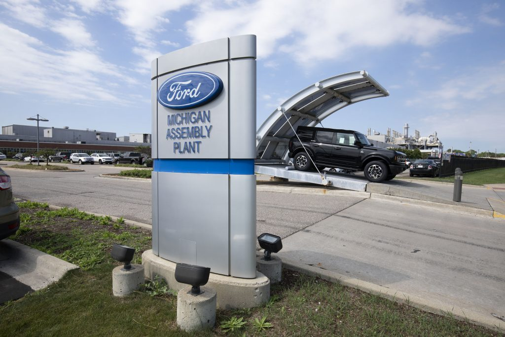 A Ford Bronco assembly plant in Michigan USA