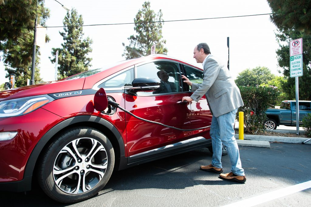 A red 2022 Chevy Bolt.