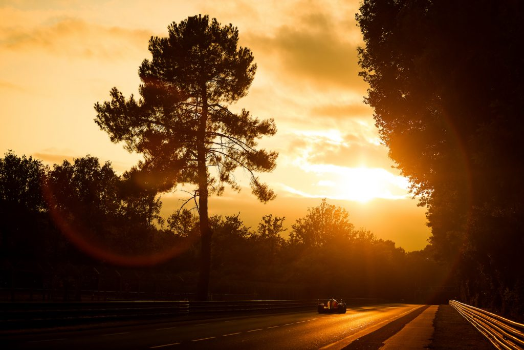 LE MANS, FRANCE - AUGUST 21: Low light action as sun sets at the Le Mans 24 Hour Race on August 21, 2021 in Le Mans, France before the #71 Ferrari lost a wheel at Le Mans. (Photo by James Moy Photography/Getty Images)