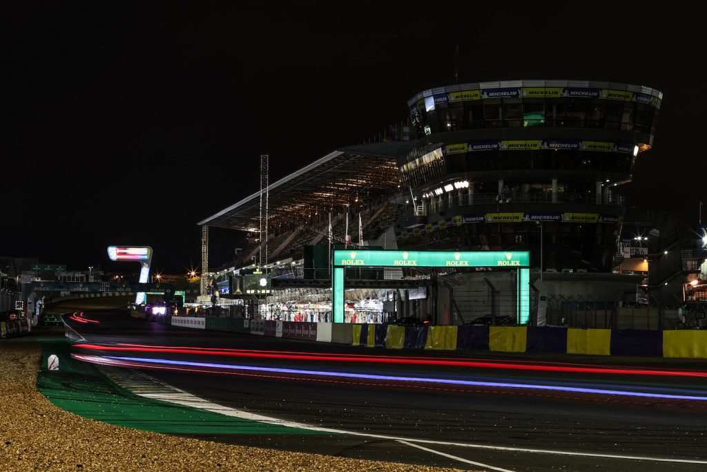 LE MANS, FRANCE - AUGUST 21: Night time action at the Le Mans 24 Hour Race on August 21, 2021 in Le Mans, France before a Ferrari lost a wheel at Le Mans 2021. (Photo by James Moy Photography/Getty Images)