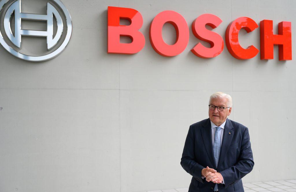 German president Frank-Walter Steinmeier at a Bosch plant in August, 2021