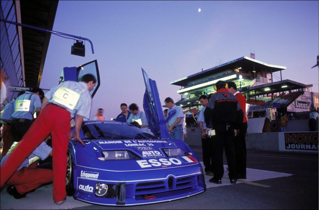 """FRANCE - JUNE 19:  Car-racing: the """"24 Heures du Mans"""" In Le Mans, France On June 19, 1994 - Bugatti stable.  (Photo by Jean-Michel TURPIN/Gamma-Rapho via Getty Images) Will we see a return to the 24-hour race when the Bugatti Bolide races at Le Mans?"""