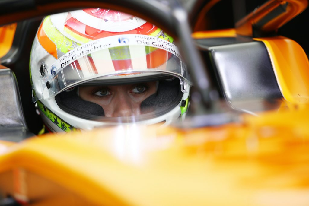 Who is Sophia Floersch? SPIELBERG, AUSTRIA - JULY 03: Sophia Floersch of Germany and Campos Racing prepares for practice for the Formula 3 Championship at Red Bull Ring on July 03, 2020 in Spielberg, Austria. (Photo by Joe Portlock - Formula 1/Formula 1 via Getty Images)