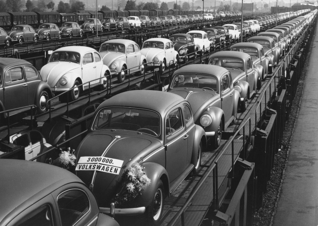 VW Beetle - VW, Beetle, Beetle, factory, Wolfsburg, station, train, freight train. What Is The Best Selling Car Of All Time?
