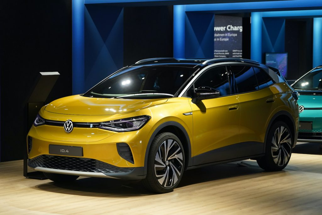 A yellow Volkswagen ID.4 on display in Germany. The Volkswagen ID.4 is one of the Best Electric SUVs of 2021