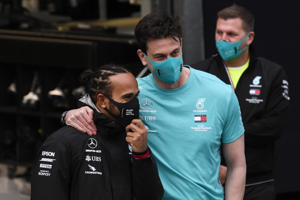 Toto and Lewis Hamilton after Lewis' British GP win