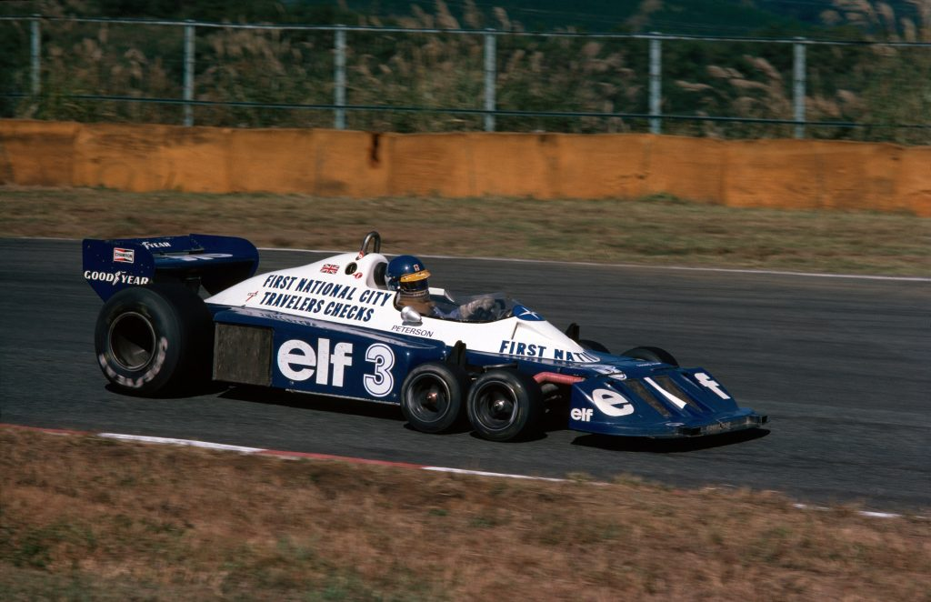 The 6-wheeled Tyrrell P34, driven by Ronnie Peterson at the Japanese Grand Prix