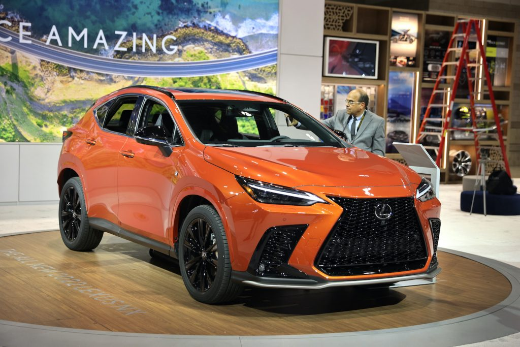 CHICAGO, ILLINOIS - JULY 14: A 2022 Lexus NX is introduced to the media at the Chicago Auto Show on July 14, 2021 in Chicago, Illinois. The show, which opens to the public tomorrow, is the first major auto show to be held in the United States since the start of the pandemic. (Photo by Scott Olson/Getty Images) We will have to wait to see if any of these new design cues are shared across the 2022 Lexus LX.