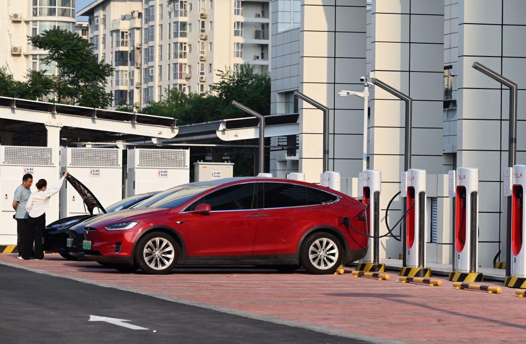 Tesla models charging in China