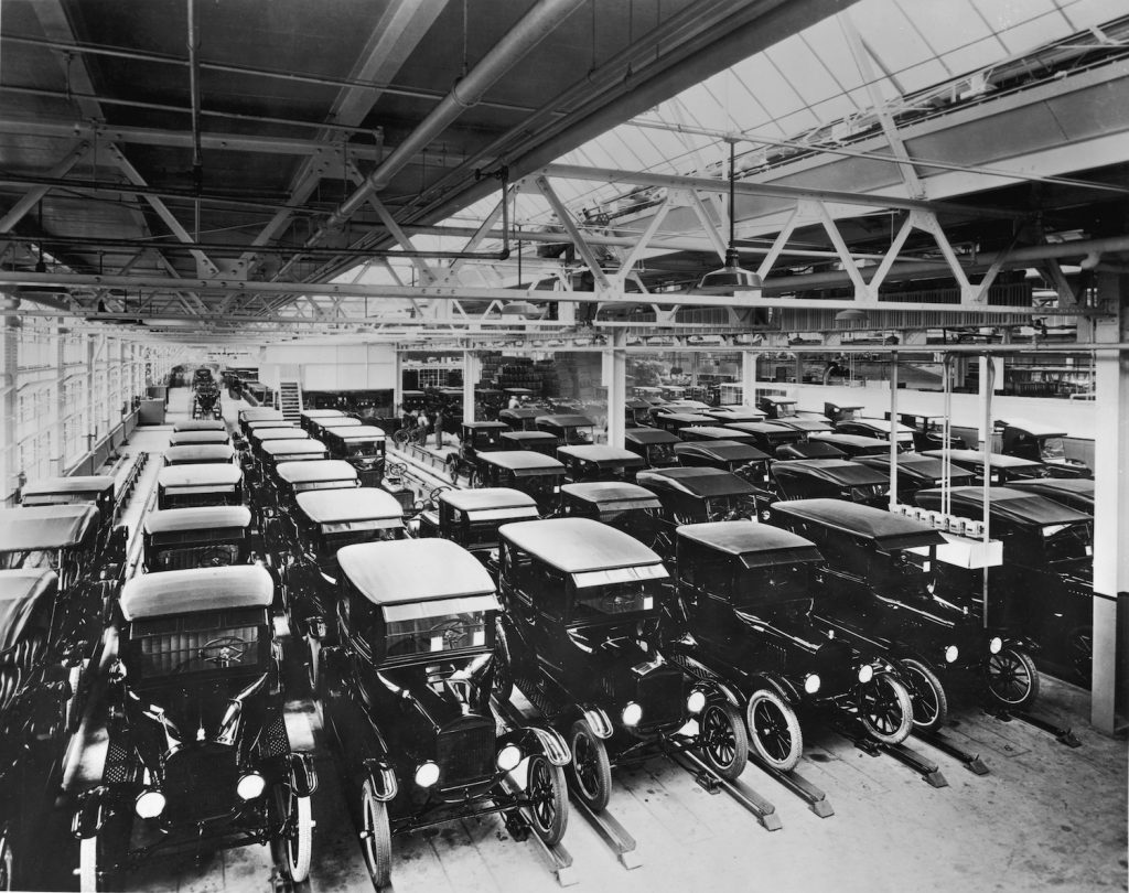 A view inside the Ford Motor Company factory with rows of new Model T motor cars.   (Photo by Hulton Archive/Getty Images) What Is The Best Selling Car Of All Time?