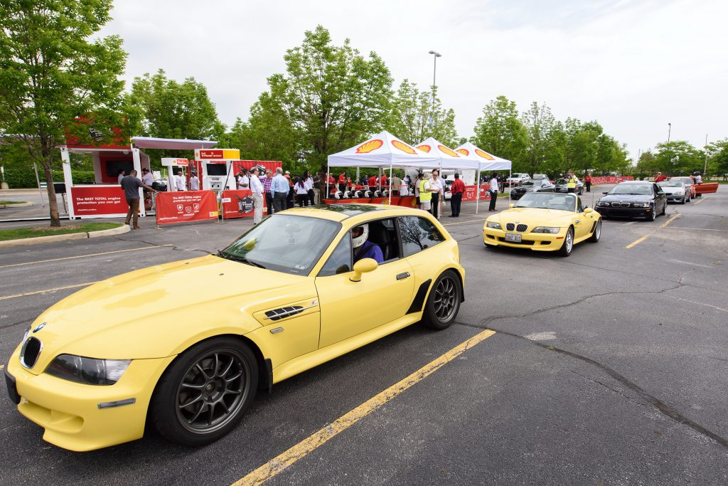 BMW cars line up before an event