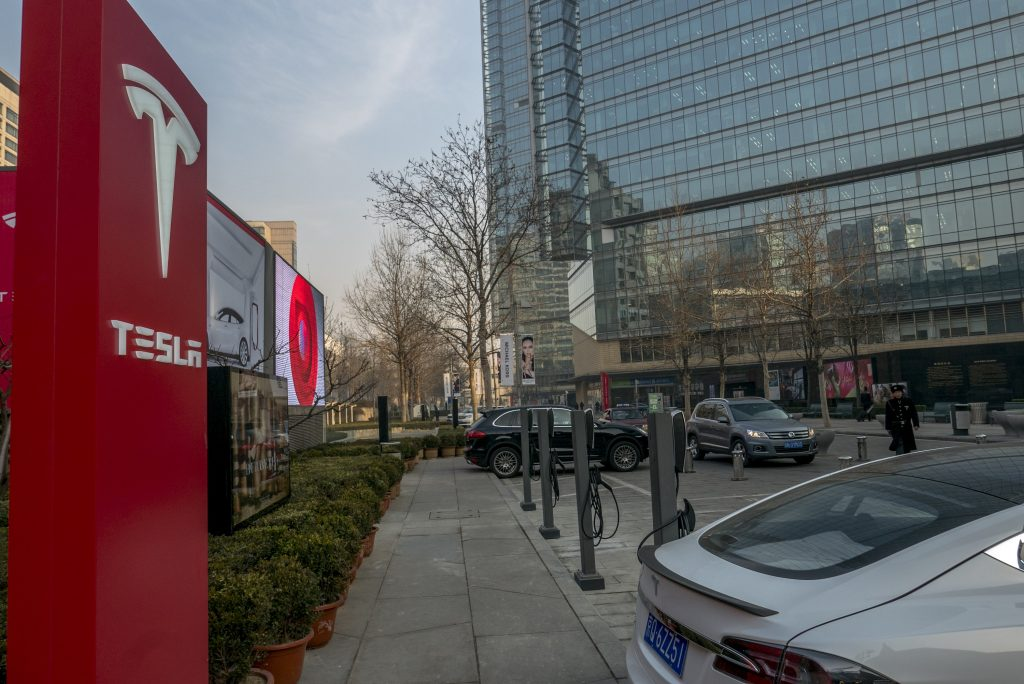 Tesla chargers outside a Target in China