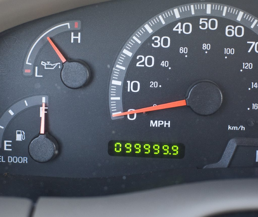 A Ford odometer reading nearly 100,000 miles