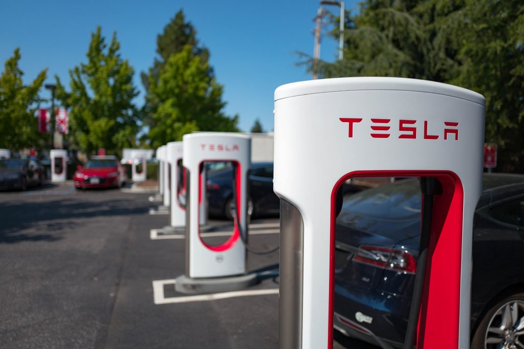 A row of Tesla Superchargers in California