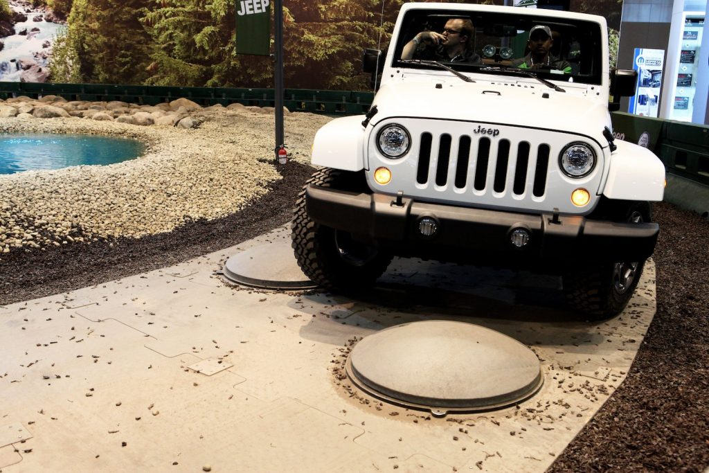2017 Jeep Wrangler Rubicon Demonstrates Maneuverability at the Chicago international auto show. The 2017 Jeep Wrangler JK has one of the lowest used Jeep Wrangler Prices.