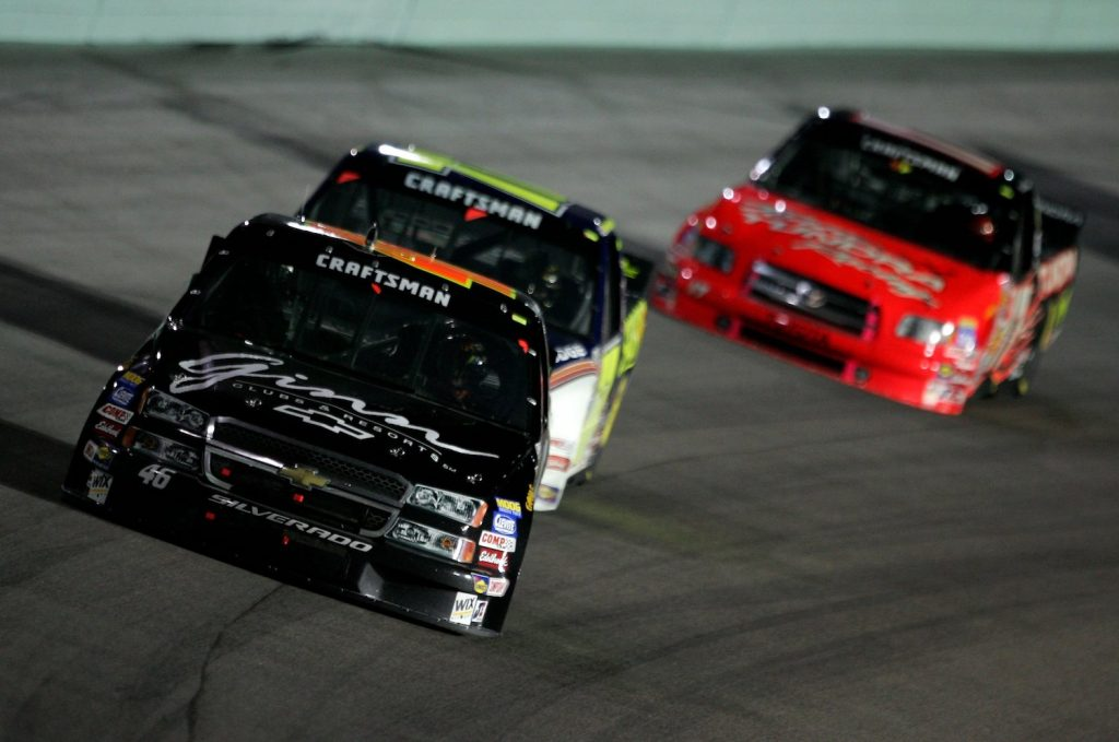 NASCAR truck race featuring a Dodge, Chevrolet, and Silverado. Which V8 is the best truck engine?