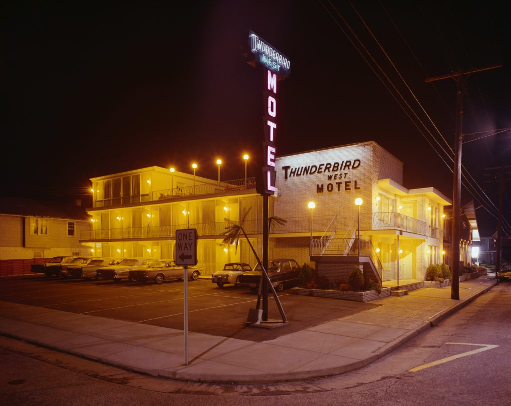 Nighttime view of the Thunderbird West Motel Road Trip stop