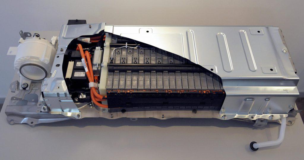 A cutaway of a Toyota EV battery