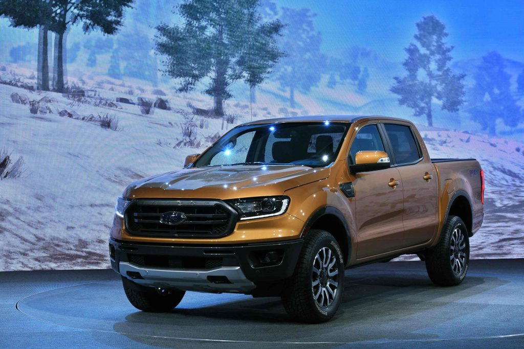 2019 Ford ranger in orange at a press event