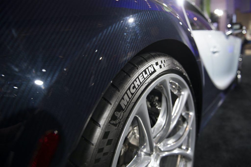 A tire from French manufacturer Michelin is on a Bugatti Chiron during the 2018 North American International Auto Show in Detroit, Michigan, on January 16, 2018. Car makers appealed to Americans' deep love of SUVs and trucks on at the Detroit Auto Show, unveiling a host of choices from luxurious to utilitarian, while also beefing up the humble sedan. / AFP PHOTO / JIM WATSON        (Photo credit should read JIM WATSON/AFP via Getty Images) See our tire speed rating chart.