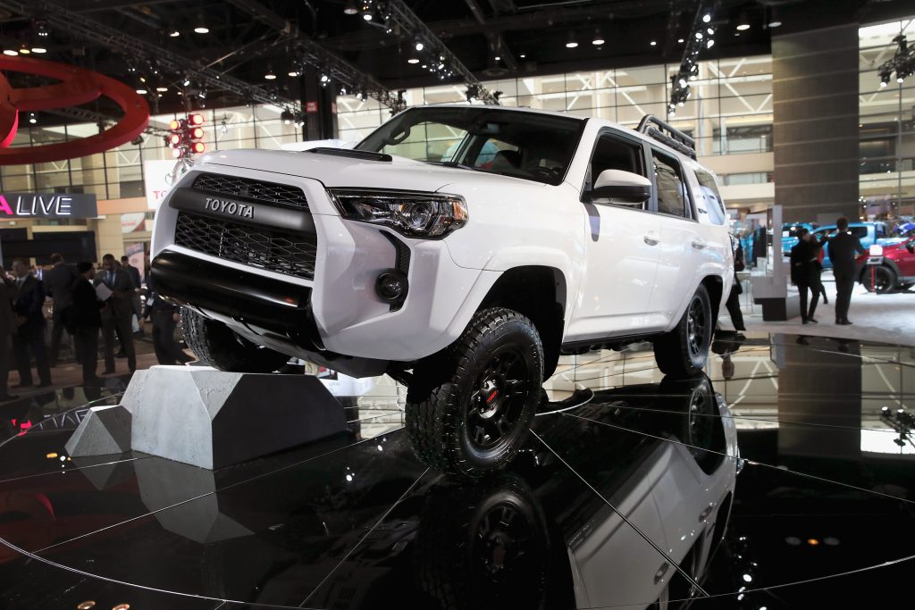 A white Toyota 4Runner at its launch at the Chicago Auto Show