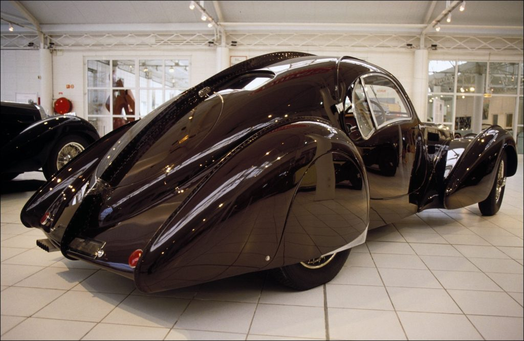 Bugatti 57C Atlantic (1938, 3 models). (Photo by Pool GEORGEON/ROSSI/Gamma-Rapho via Getty Images) A Bugatti so rare, Jay Leno can't buy one.