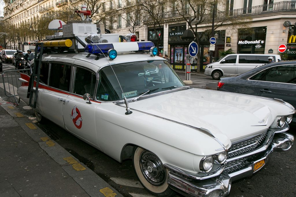 """A replica of the 'ECTo-1' from """"Ghostbusters."""""""