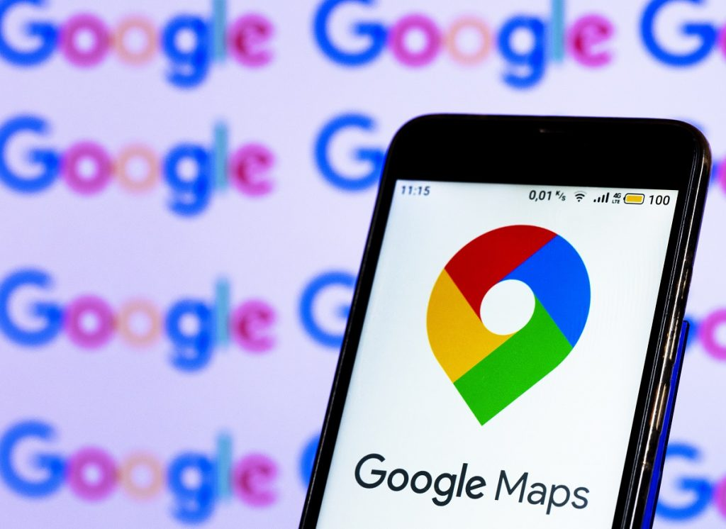The Google Maps symbol on a cell phone.