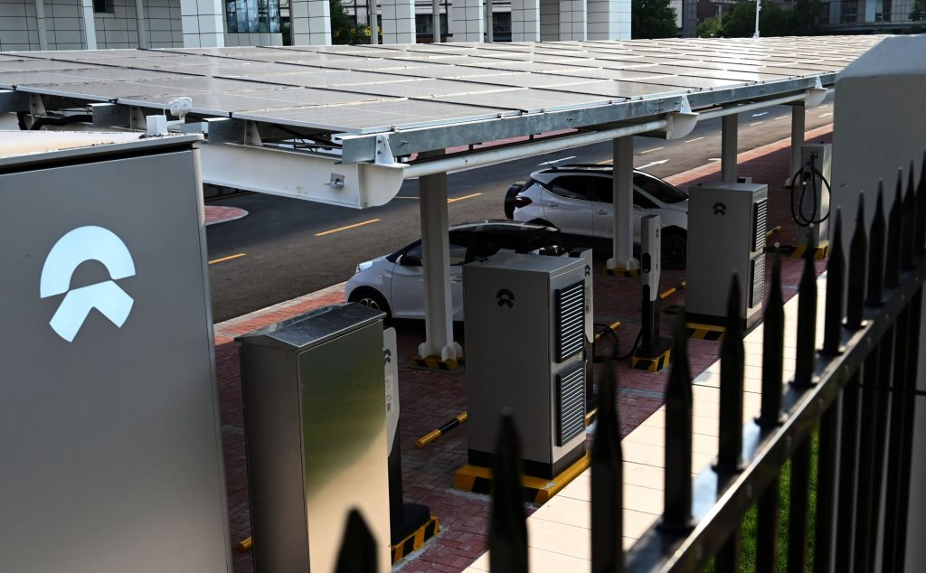 A State Gird charging station with solar panels and heat pumps in Tianjin, China