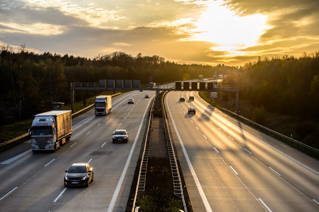 Motorists Driving In Highway Traffic