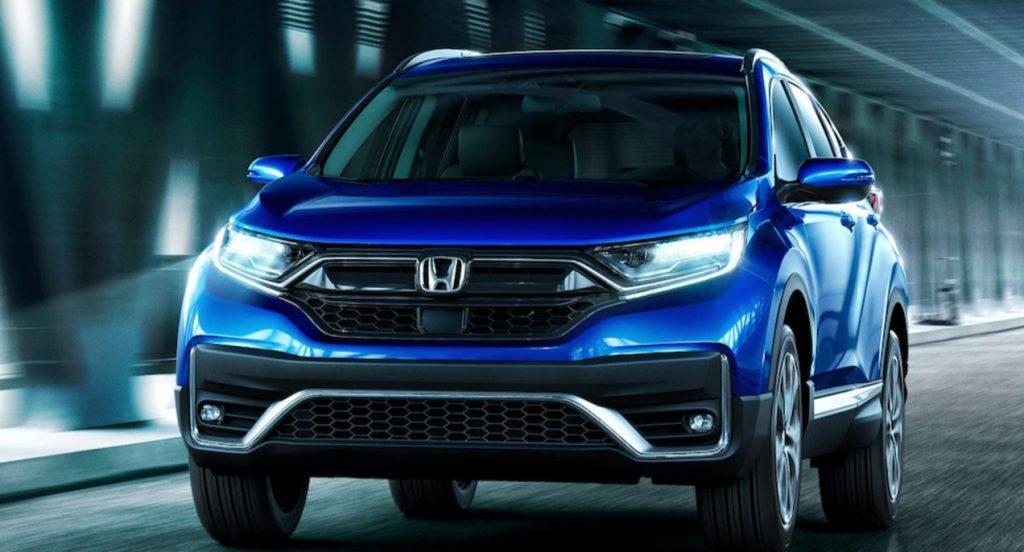A blue Honda CRV new vehicle.