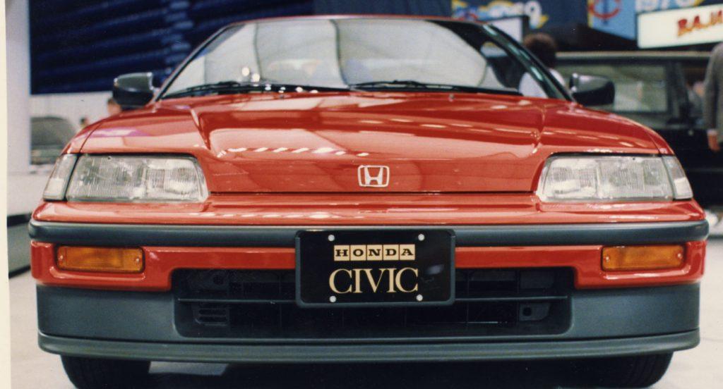 A red Honda Civic CRX.