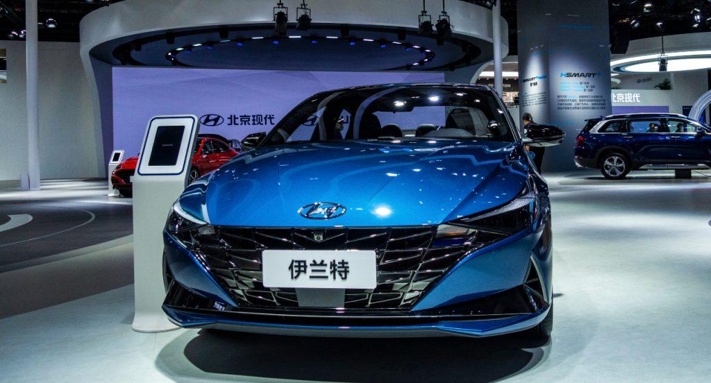 A blue Hyundai Elantra.