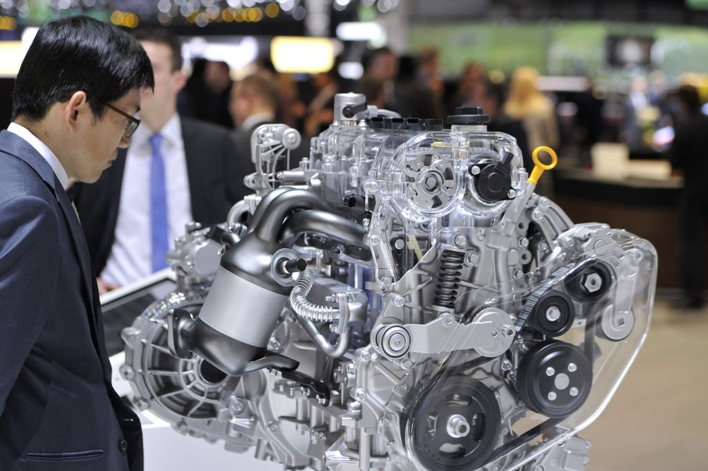 Hyundai/Kia engine on display at the 2016 Geneva Auto Show